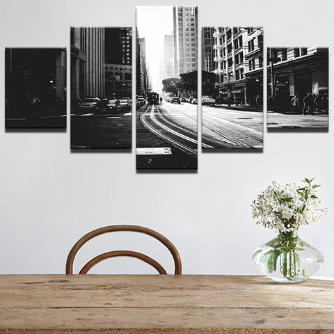 Black And White City Streetscape Streetcar 5 Panel Canvas Print Wall Art Canvas Print Got It Here