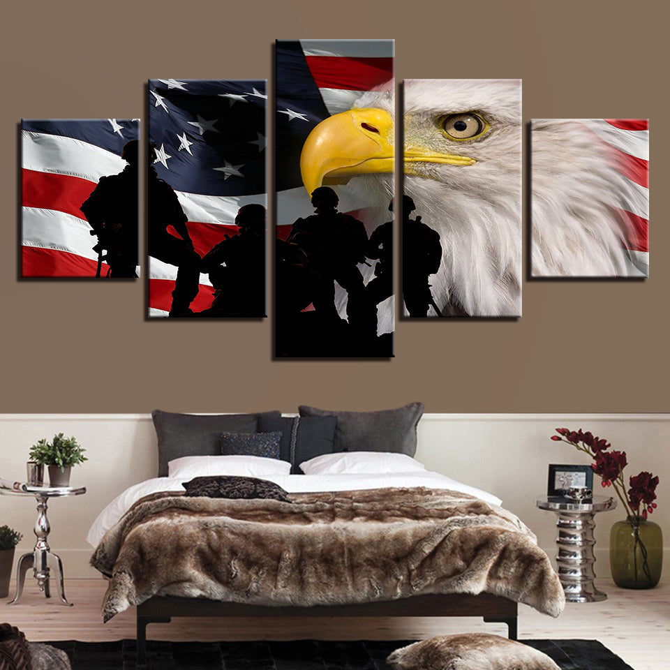 American Flag With Bald Eagle And Soldiers 5 Panel Canvas Print Wall Art Canvas Print Got It Here
