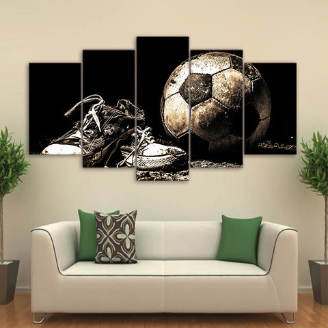 Soccer Ball And Cleats 5 Panel Canvas Print Wall Art