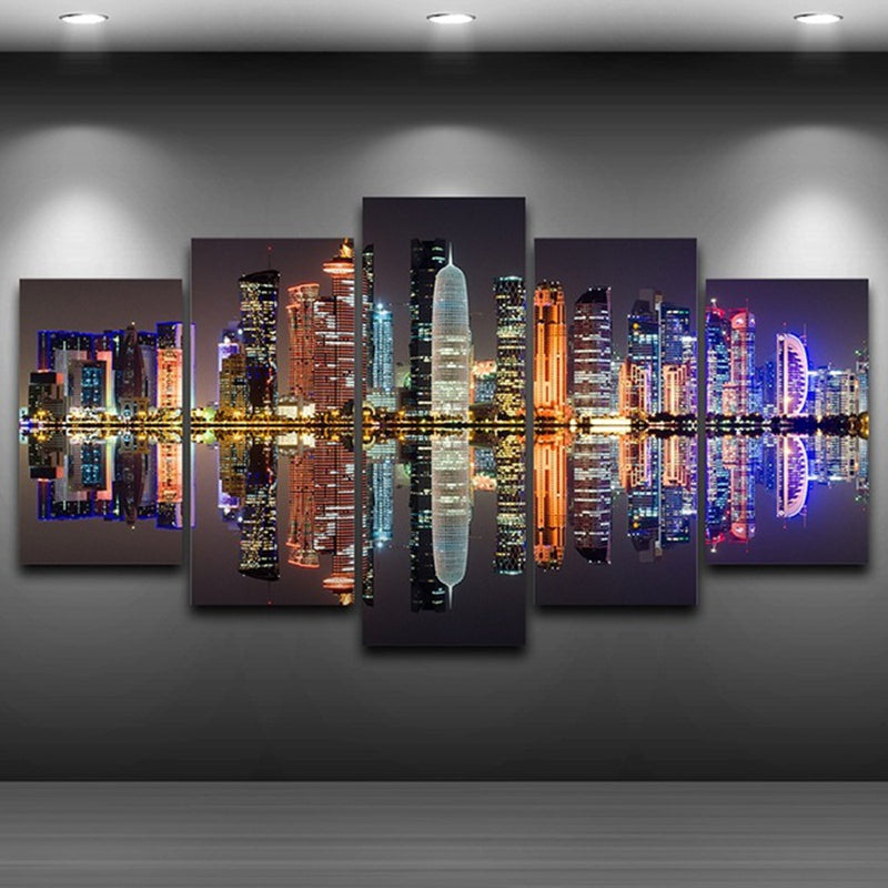 Dubai UAE Skyline 5 Panel Canvas Print Wall Art