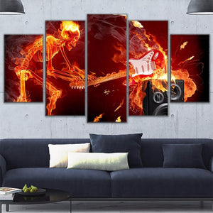 Flaming Skeleton Smashing Guitar 5 Panel Canvas Print Wall Art