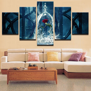 Beauty And The Beast Enchanted Rose 5 Panel Canvas Print Wall Art Canvas Print Got It Here