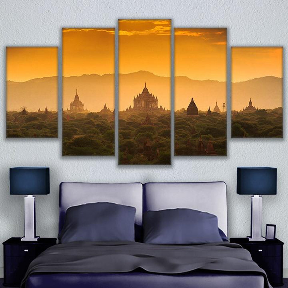 Cambodia Sunrise 5 Panel Canvas Print Wall Art Canvas Print Got It Here