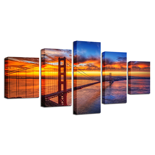 San Francisco Golden Gate Bridge 5 Panel Canvas Print Wall Art Canvas Print Got It Here