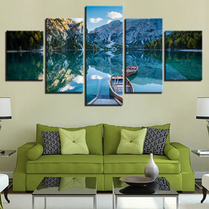 Canoes On Mountain Lake 5 Panel Canvas Print Wall Art Canvas Print Got It Here