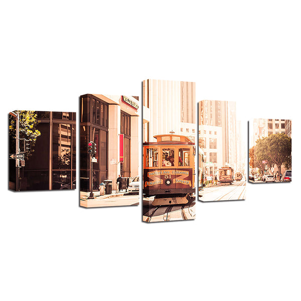 San Francisco Street Car 5 Panel Canvas Print Wall Art Canvas Print Got It Here