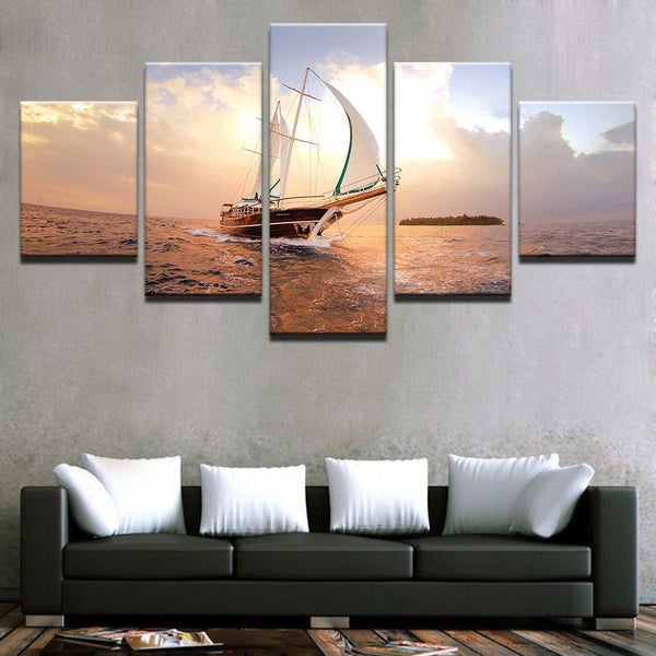 Sailboat 5 Panel Canvas Print Wall Art Canvas Print Got It Here