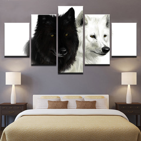 White Wolf Black Wolf 5 Panel Canvas Print Wall Art Canvas Print Got It Here