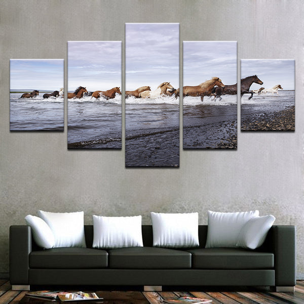 Wild Horses Running In The Water 5 Panel Canvas Print Wall Art Canvas Print Got It Here