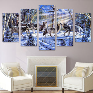 Wolves In A Snowy Forest 5 Panel Canvas Print Wall Art Canvas Print Got It Here