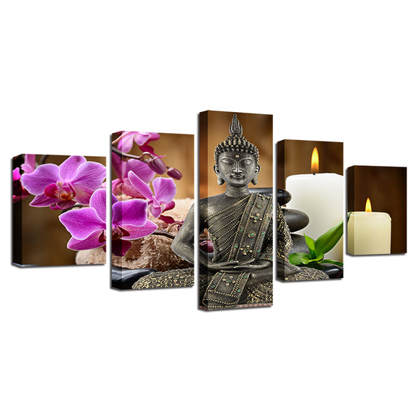 Buddha 5 Panel Canvas Print Wall Art