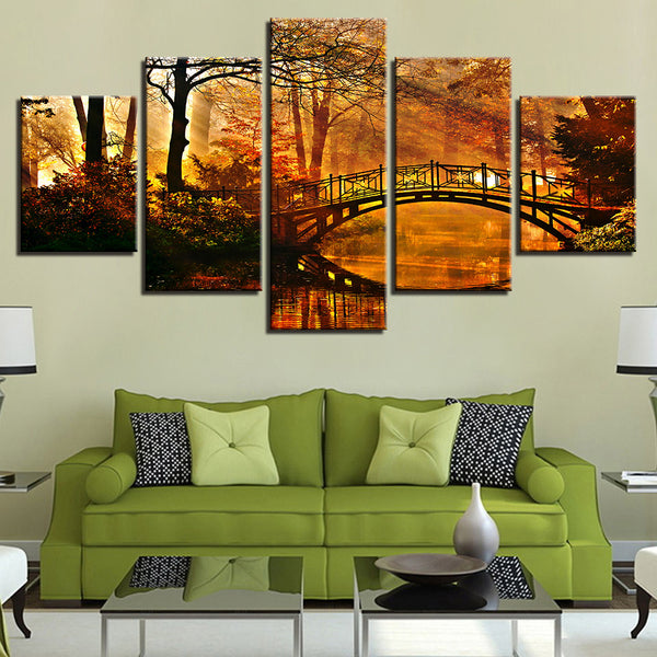 Bridge In The Forest 5 Panel Canvas Print Wall Art