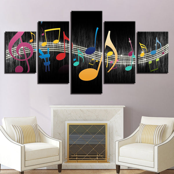 Musical Notes 5 Panel Canvas Print Wall Art