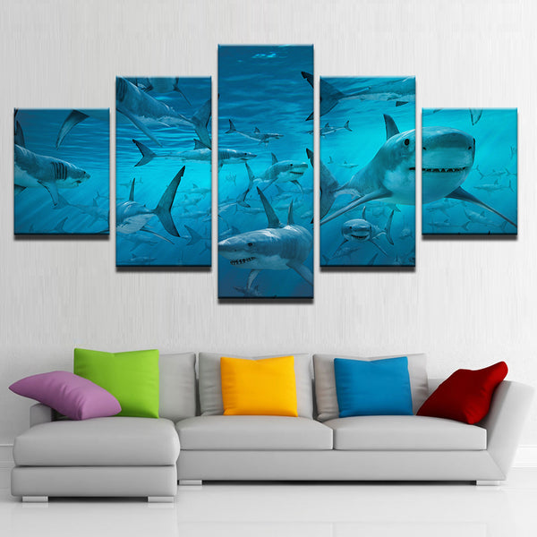 School Of Sharks 5 Panel Canvas Print Wall Art Canvas Print Got It Here
