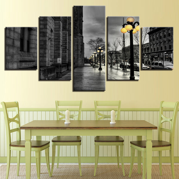 Black And White London Street 5 Panel Canvas Print Wall Art Canvas Print Got It Here