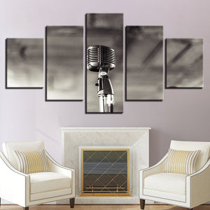 Vintage Microphone 5 Panel Canvas Print Wall Art Canvas Print Got It Here