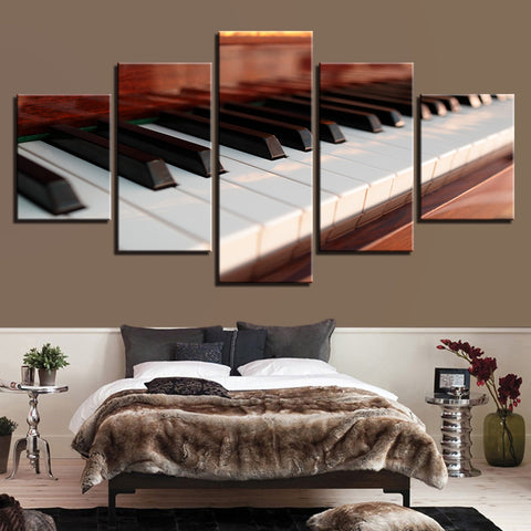 Piano Keyboard 5 Panel Canvas Print Wall Art