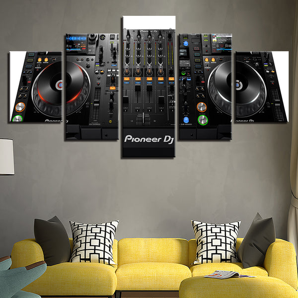 DJ Console Mixer 5 Panel Canvas Print Wall Art