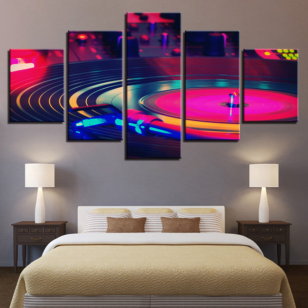 DJ Turntable Mixer 5 Panel Canvas Print Wall Art
