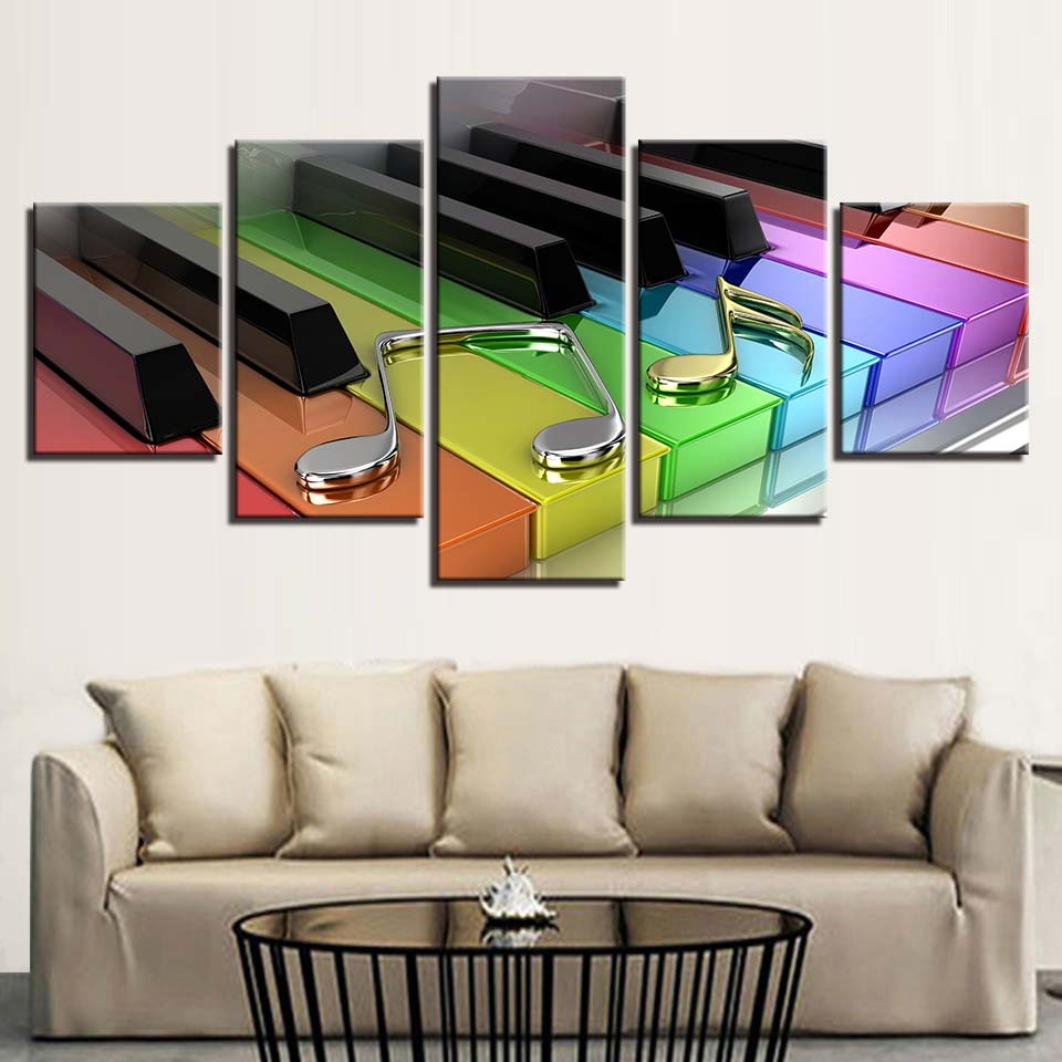 Rainbow Piano Keyboard 5 Panel Canvas Print Wall Art
