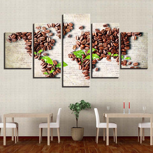 World Map In Coffee Beans And Leaves 5 Panel Canvas Print Wall Art