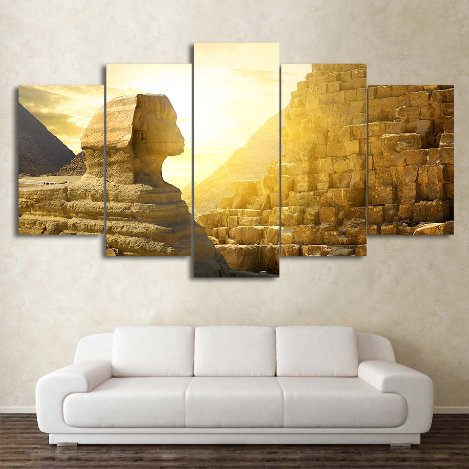Sphinx And Pyramid Giza Egypt 5 Panel Canvas Print Wall Art
