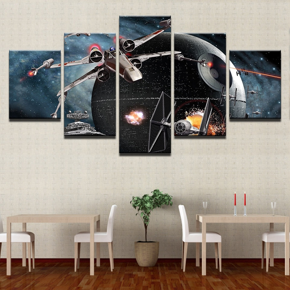 Star Wars Death Star Battle 5 Panel Canvas Print Wall Art
