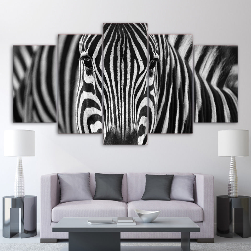 Zebra Closeup 5 Panel Canvas Print Wall Art Canvas Print Got It Here