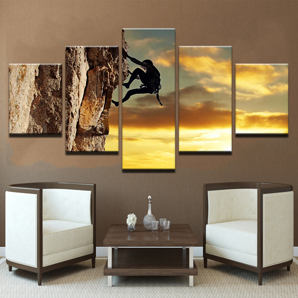 Mountain Rock Climbing 5 Panel Canvas Print Wall Art Canvas Print Got It Here