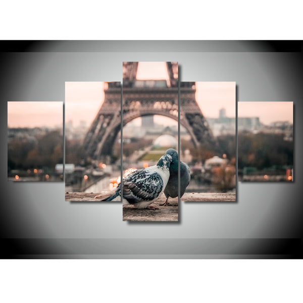 Doves In Love Eiffel Tower Paris France 5 Panel Canvas Print Wall Art