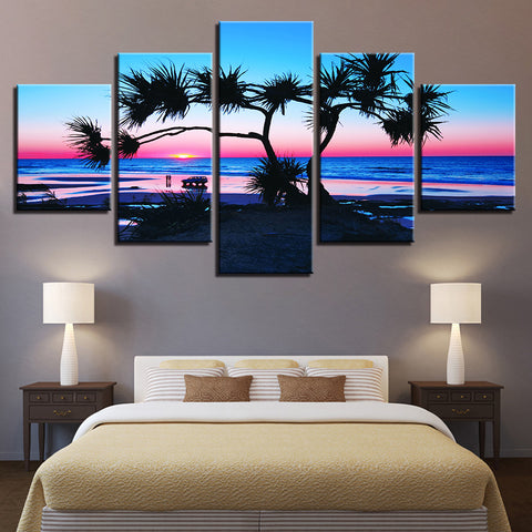 Fan Palm On The Beach Colorful Rainbow Sunset 5 Panel Canvas Print Wall Art