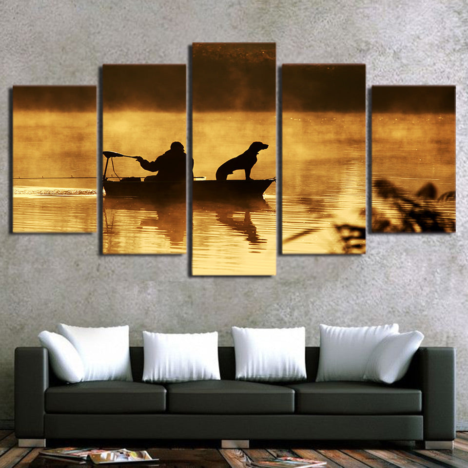 Fishing With The Dog 5 Panel Canvas Print Wall Art