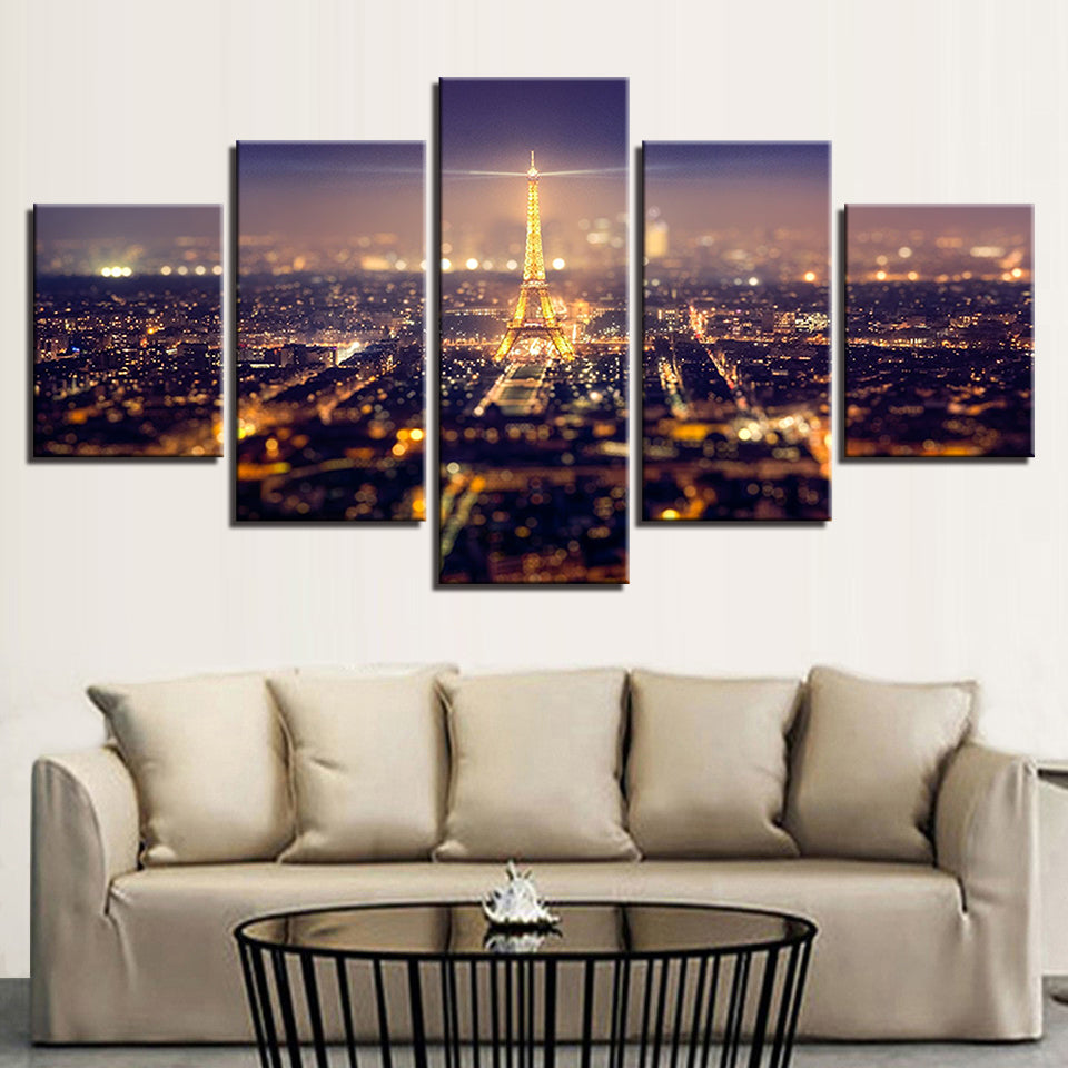 Eiffel Tower At Night Paris France 5 Panel Canvas Print Wall Art