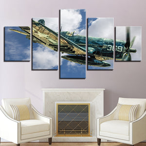 P-51D Mustang WWII Air Force 369 Fighter Group 5 Panel Canvas Print Wall Art Canvas Print Got It Here