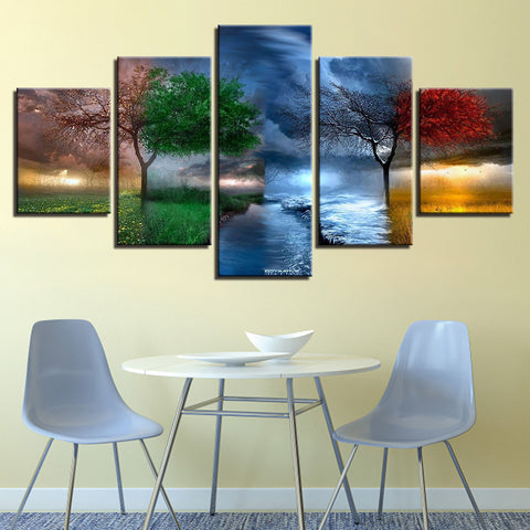 Four Seasons 5 Panel Canvas Print Wall Art Canvas Print Got It Here
