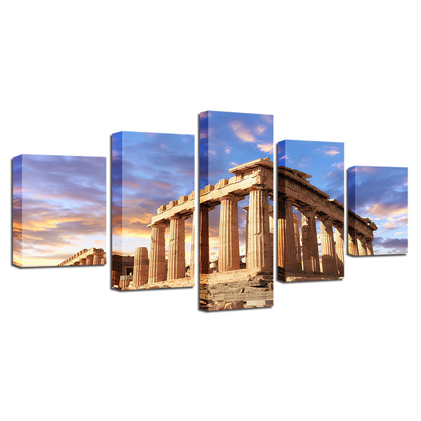 Parthenon Acropolis Athens Greece 5 Panel Canvas Print Wall Art