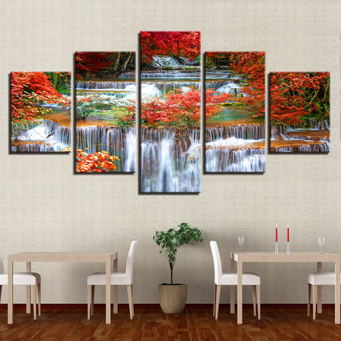 Forest Waterfall In Autumn 5 Panel Canvas Print Wall Art