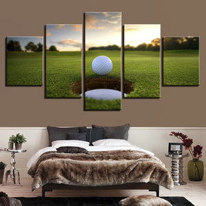 Golf Gimme Putt 5 Panel Canvas Print Wall Art