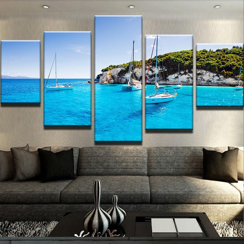 Sailboats In A Beautiful Tropical Cove 5 Panel Canvas Print Wall Art
