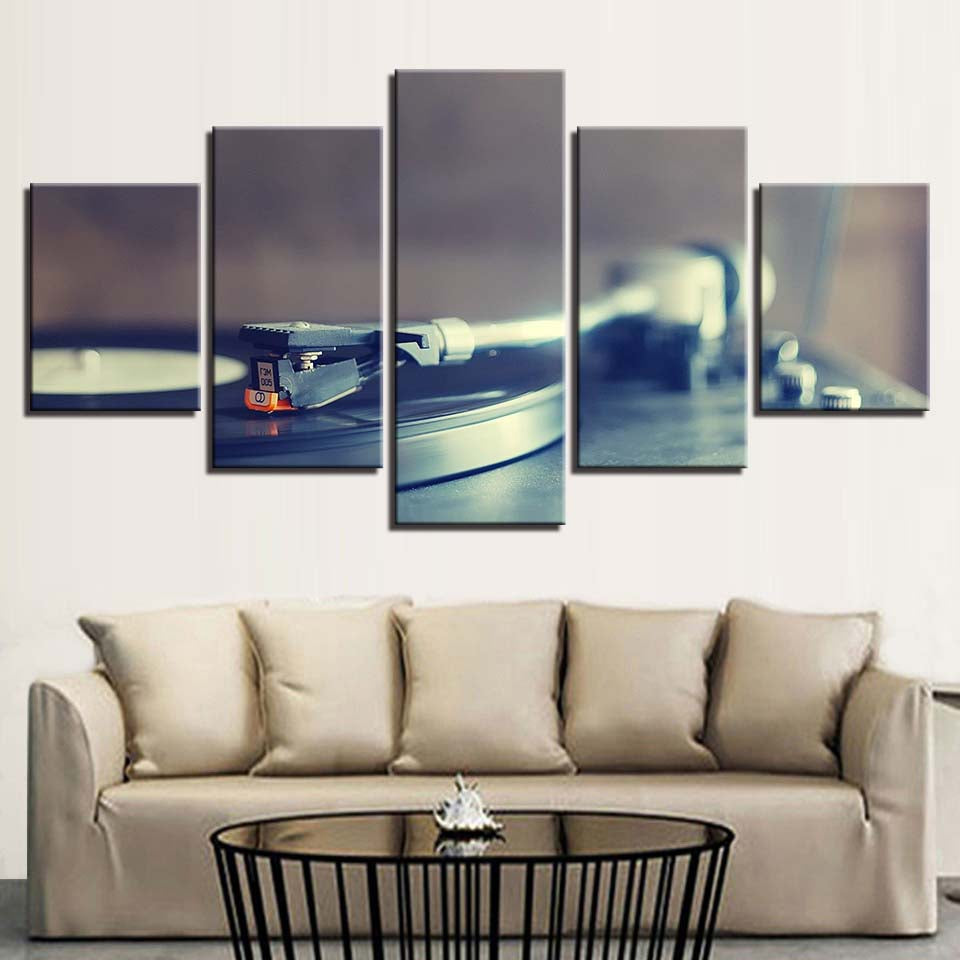 Turntable Record Player 5 Panel Canvas Print Wall Art