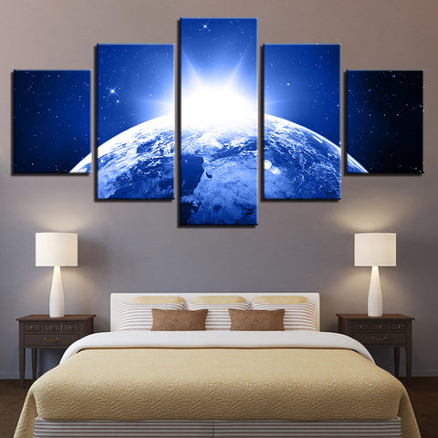 Planet Earth Sunrise From Space 5 Panel Canvas Print Wall Art