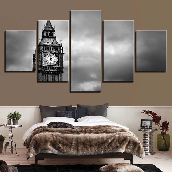 Big Ben In Black And White London England 5 Panel Canvas Print Wall Art