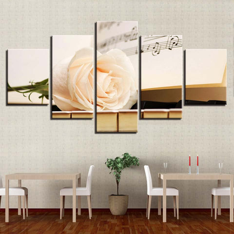 White Rose On Piano 5 Panel Canvas Print Wall Art