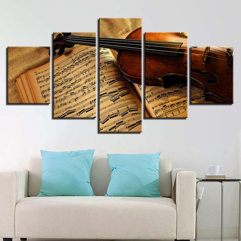 Violin And Sheet Music 5 Panel Canvas Print Wall Art