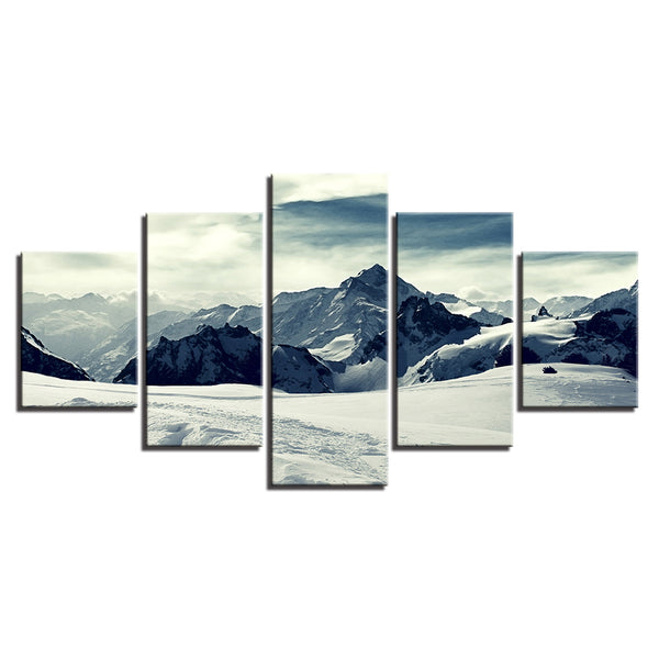 Snow Capped Mountains 5 Panel Canvas Print Wall Art