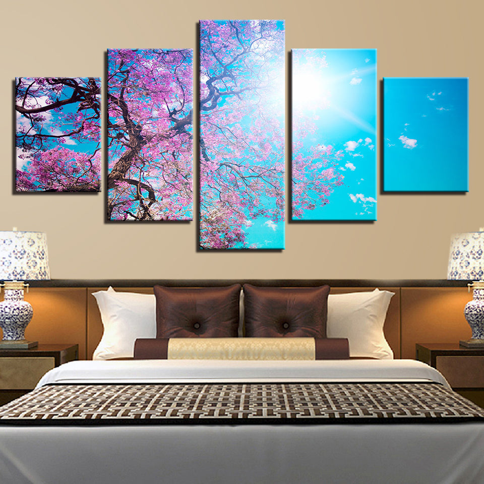 Cherry Blossoms Under A Blue Sky 5 Panel Canvas Print Wall Art