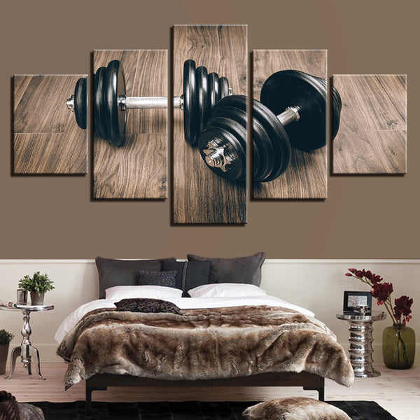Dumbbells Weightlifting Gym Fitness 5 Panel Canvas Print Wall Art