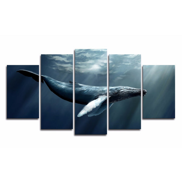 Humpback Whale Underwater 5 Panel Canvas Print Wall Art Canvas Print Got It Here