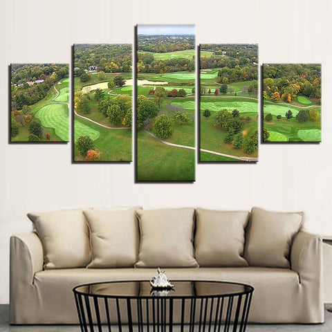 Golf Course Aerial View 5 Panel Canvas Print Wall Art Canvas Print Got It Here