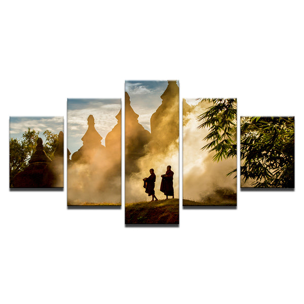 Buddhist Monks 5 Panel Canvas Print Wall Art
